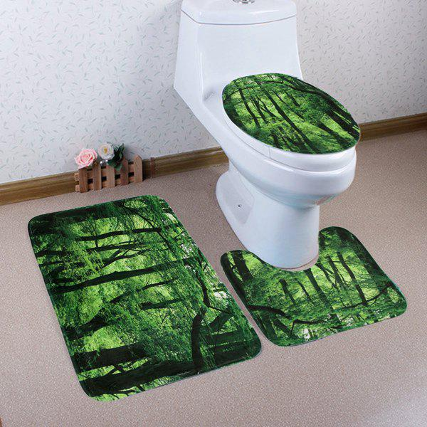Best Forest Pattern 3 Pcs Bath Mat Toilet Mat