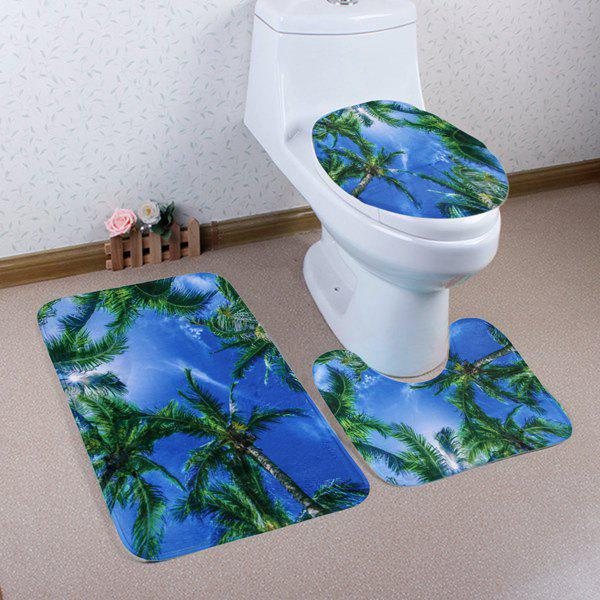 Shop Palm Trees Sky Pattern 3 Pcs Bath Mat Toilet Mat