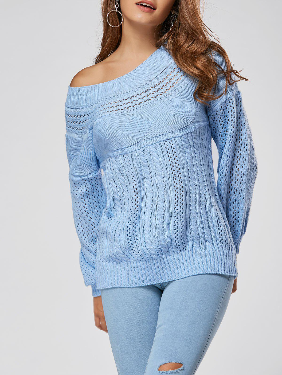 Casual Hollow Out Cable Knit SweaterWOMEN<br><br>Size: XL; Color: BLUE; Type: Pullovers; Material: Polyester; Sleeve Length: Full; Collar: Crew Neck; Style: Casual; Pattern Type: Solid; Season: Fall,Winter; Weight: 0.4700kg; Package Contents: 1 x Sweater;