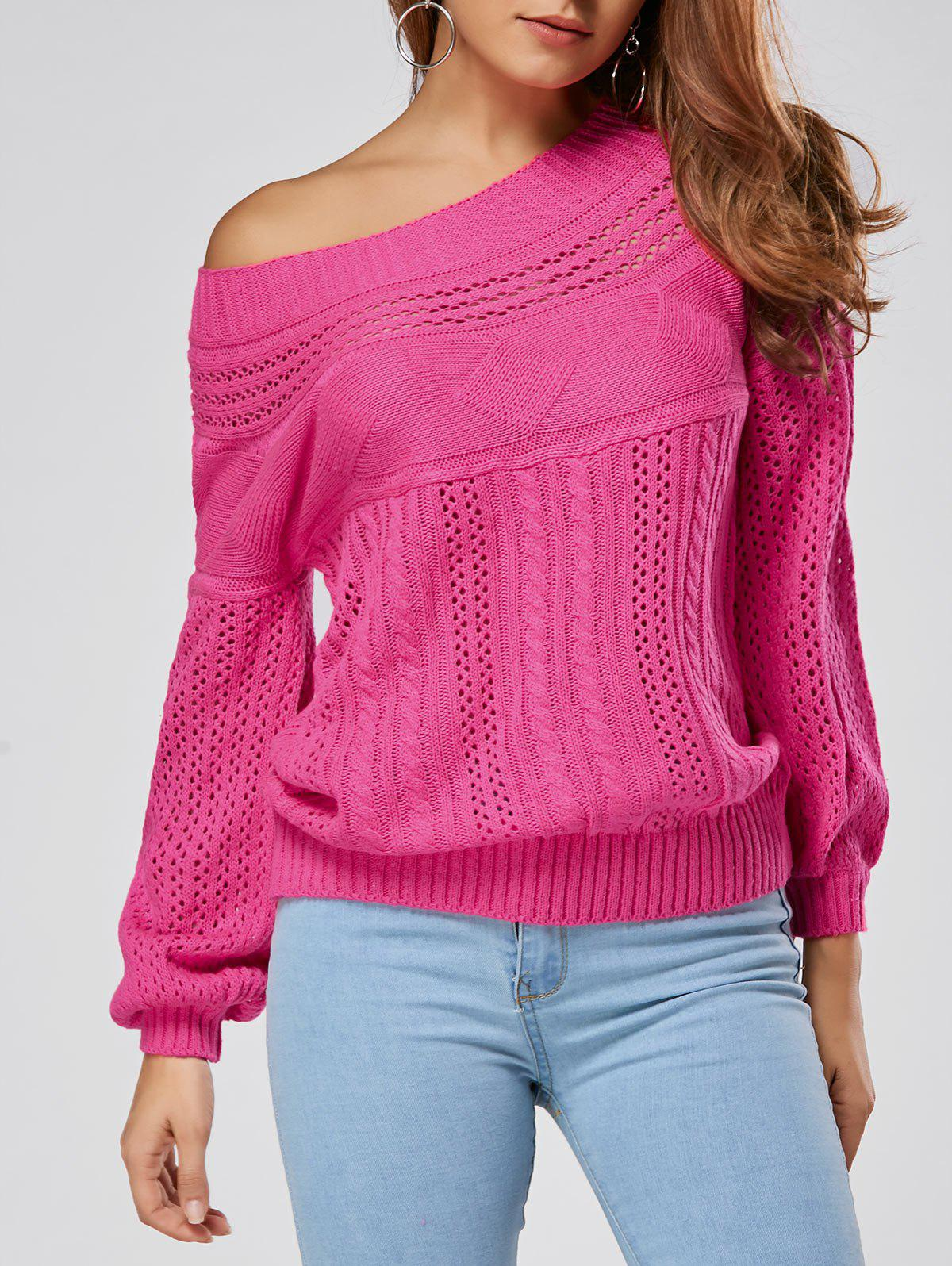 Fancy Casual Hollow Out Cable Knit Sweater