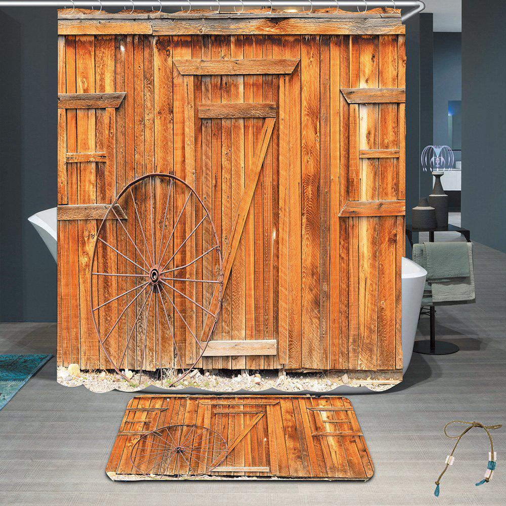Wooden Board Wheel Waterproof Shower Curtain Rug SetHOME<br><br>Size: W79 INCH * L71 INCH; Color: LIGHT BROWN; Products Type: Shower Curtains; Materials: Coral FLeece,Polyester; Pattern: Solid; Style: Vintage; Size: 200 * 180 + 40 * 60 (CM); Number of Hook Holes: 12; Package Contents: 1 x Shower Curtain 1 x Rug 1 x Hooks (Set);