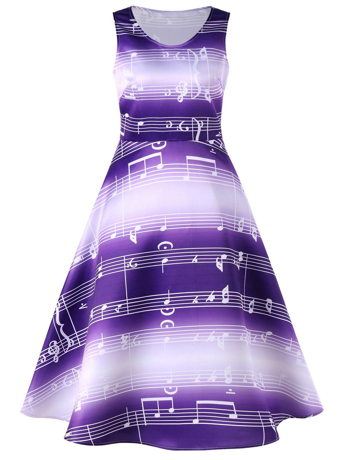 Purple 2xl Sleeveless Music Notes Print 50s Swing Dress