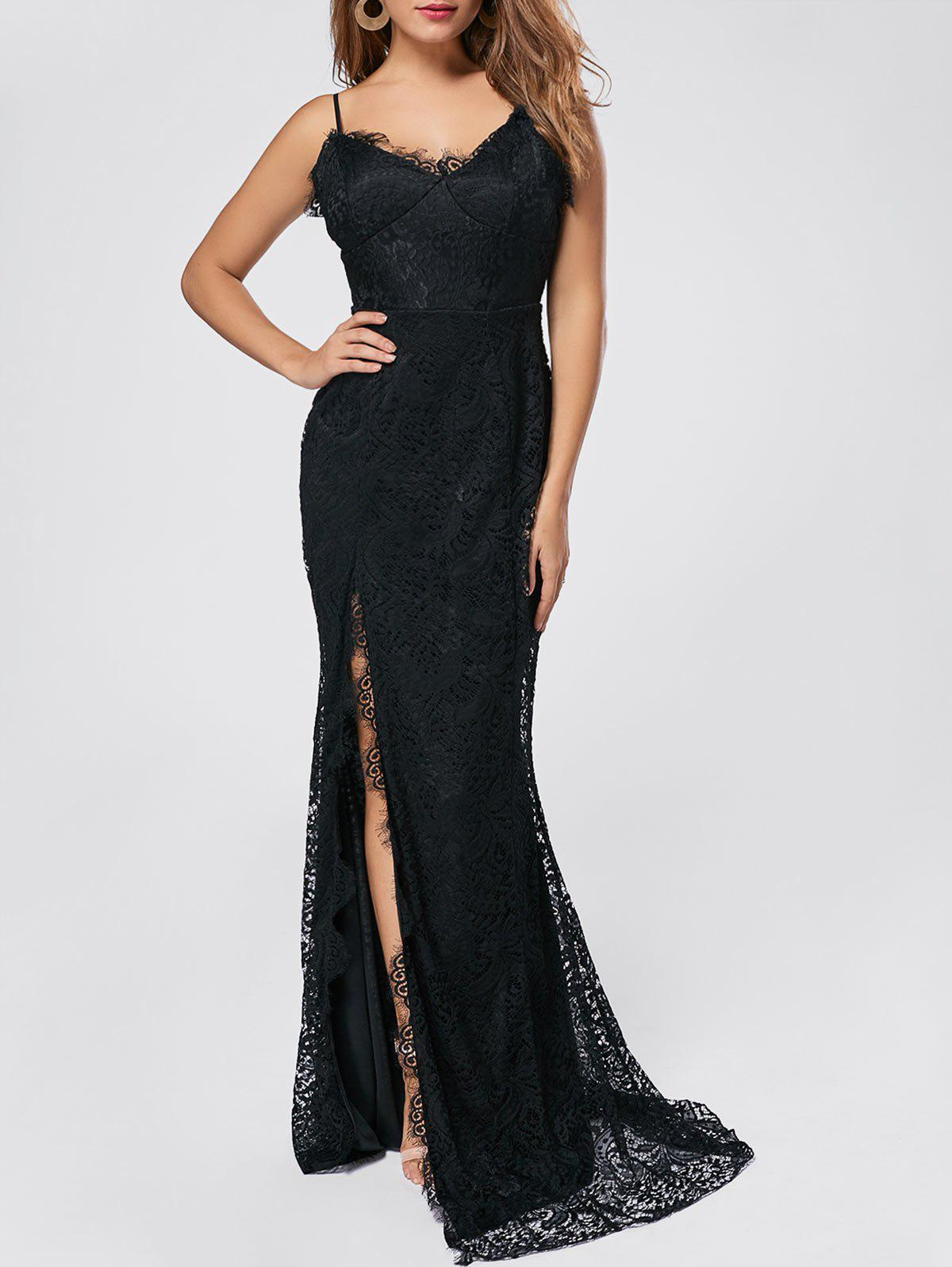 Black S High Slit Maxi Long Lace Evening Dress Rosegal Com