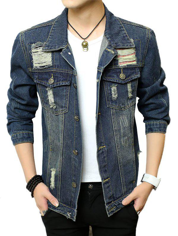 Hot Chest Pocket Button Up Ripped Denim Jacket