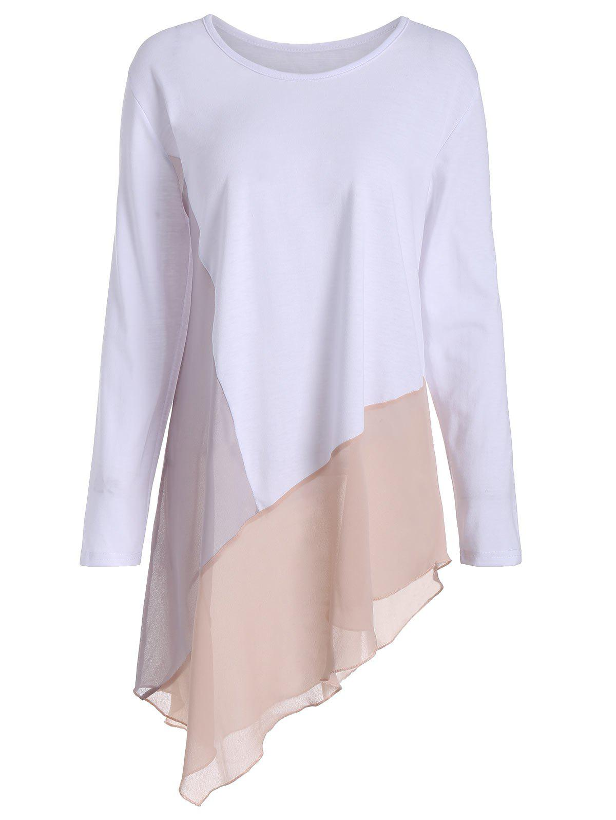 Asymmetric Long Sleeve Color Block Plus Size TeeWOMEN<br><br>Size: 5XL; Color: WHITE; Material: Polyester; Shirt Length: Long; Sleeve Length: Full; Collar: Round Neck; Style: Casual; Season: Fall,Spring; Pattern Type: Others; Weight: 0.2600kg; Package Contents: 1 x Tee;