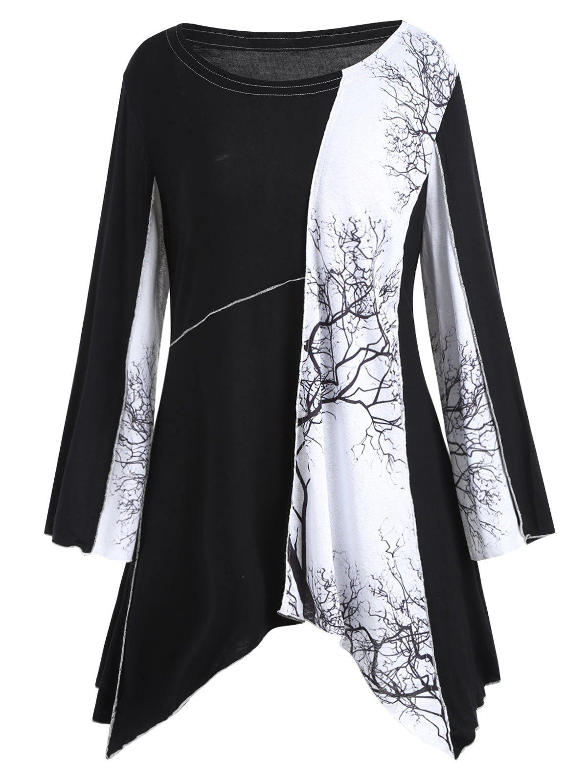 Plus Size Tree Graphic Long Sleeve Asymmetric TopWOMEN<br><br>Size: 4XL; Color: BLACK; Material: Cotton,Cotton Blends,Polyester; Shirt Length: Long; Sleeve Length: Full; Collar: Scoop Neck; Style: Fashion; Season: Fall,Spring; Pattern Type: Plant,Print; Weight: 0.3200kg; Package Contents: 1 x Tee;
