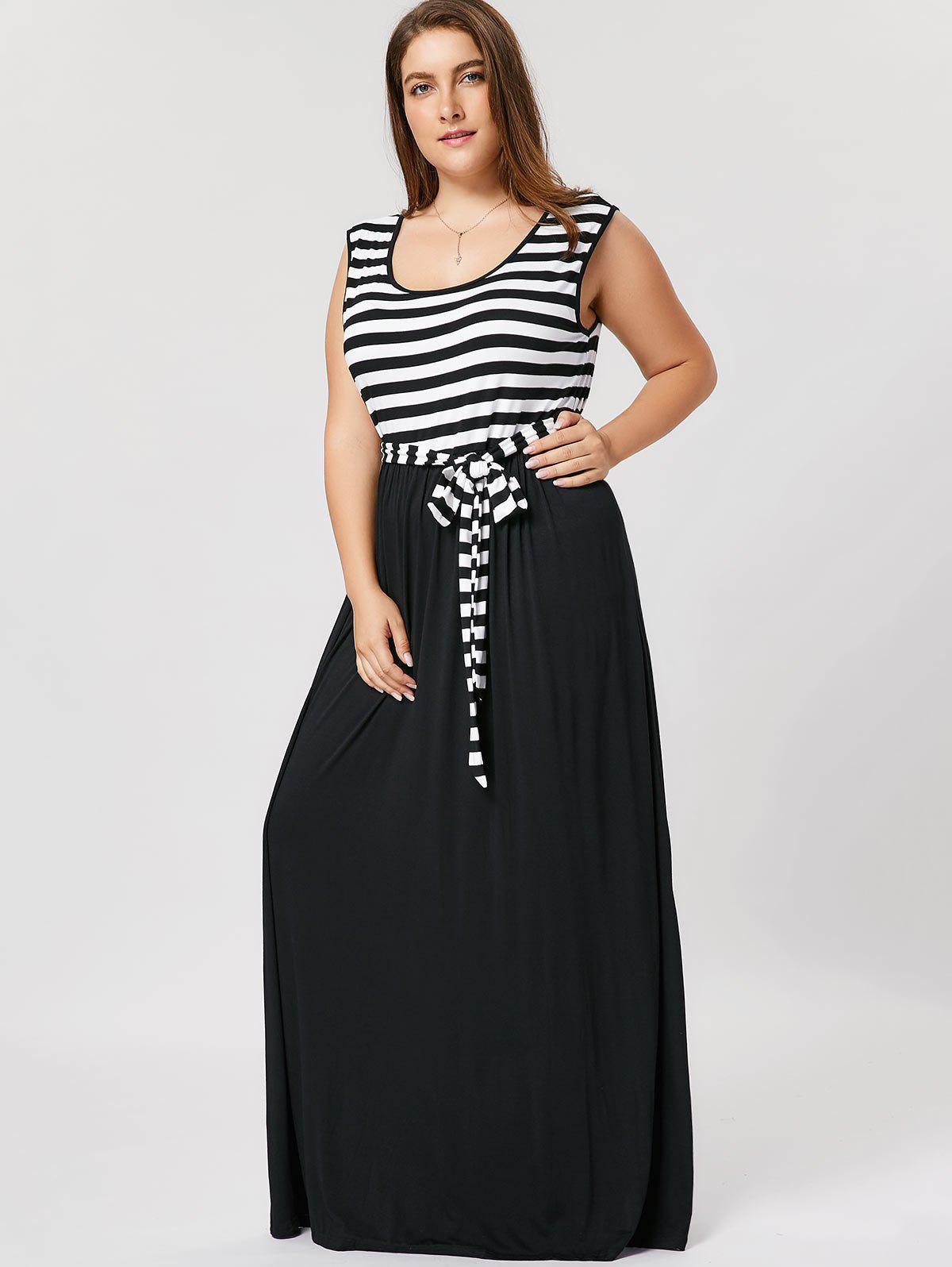 Striped Plus Size Maxi DressWOMEN<br><br>Size: XL; Color: BLACK; Style: Casual; Material: Cotton Blend; Silhouette: A-Line; Dresses Length: Ankle-Length; Neckline: Scoop Neck; Sleeve Length: Sleeveless; Pattern Type: Striped; With Belt: Yes; Season: Fall,Spring,Summer; Weight: 0.6200kg; Package Contents: 1 x Dress  1 x Belt;