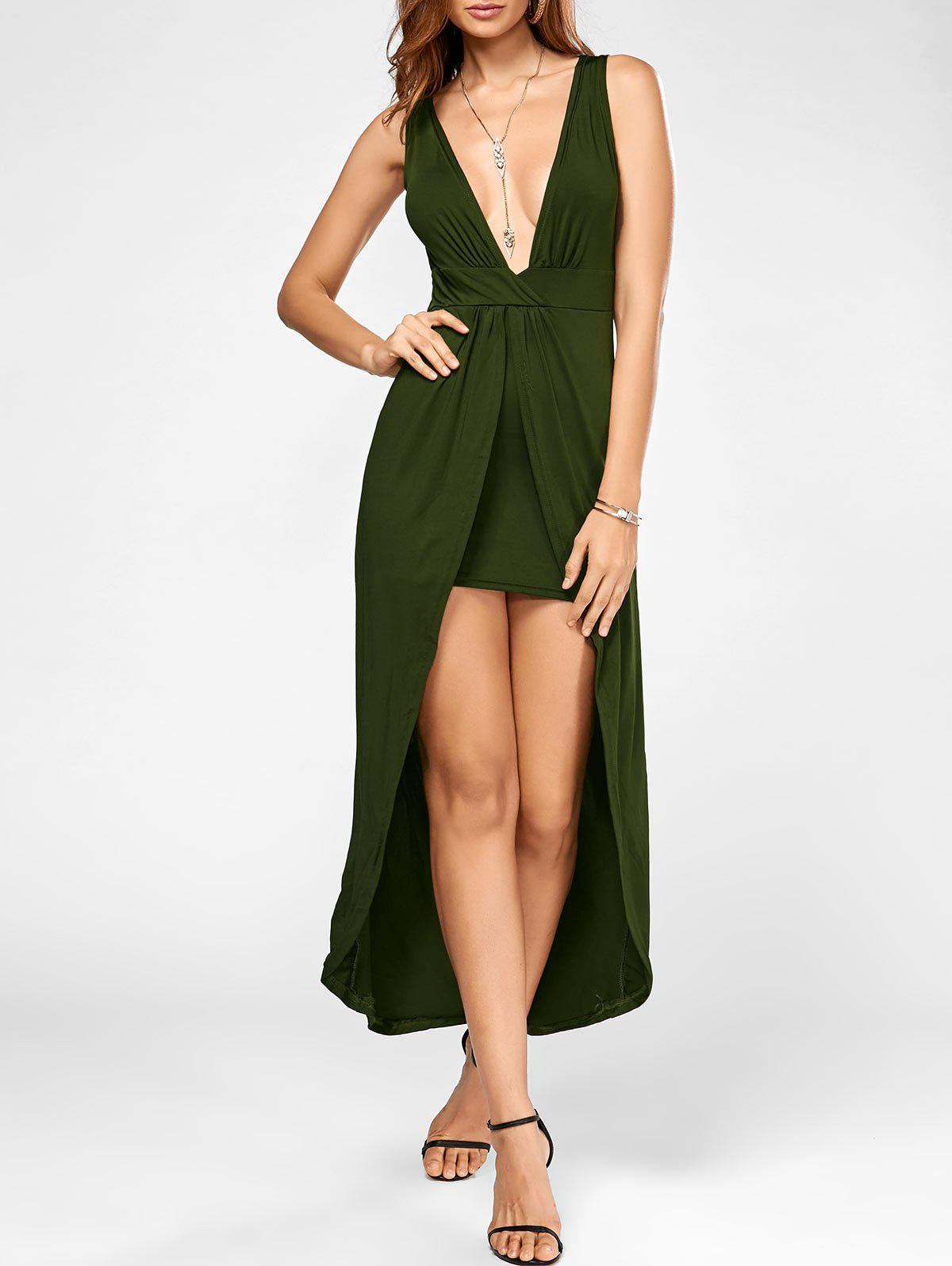 Online High Low Plunging Neck Party Maxi Dress