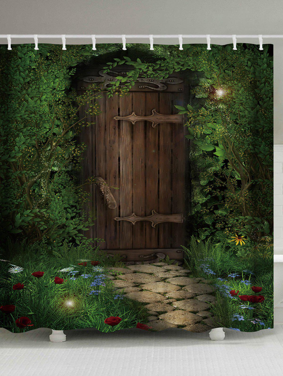 Hot Fairy Forest Wood Door Printed Shower Curtain