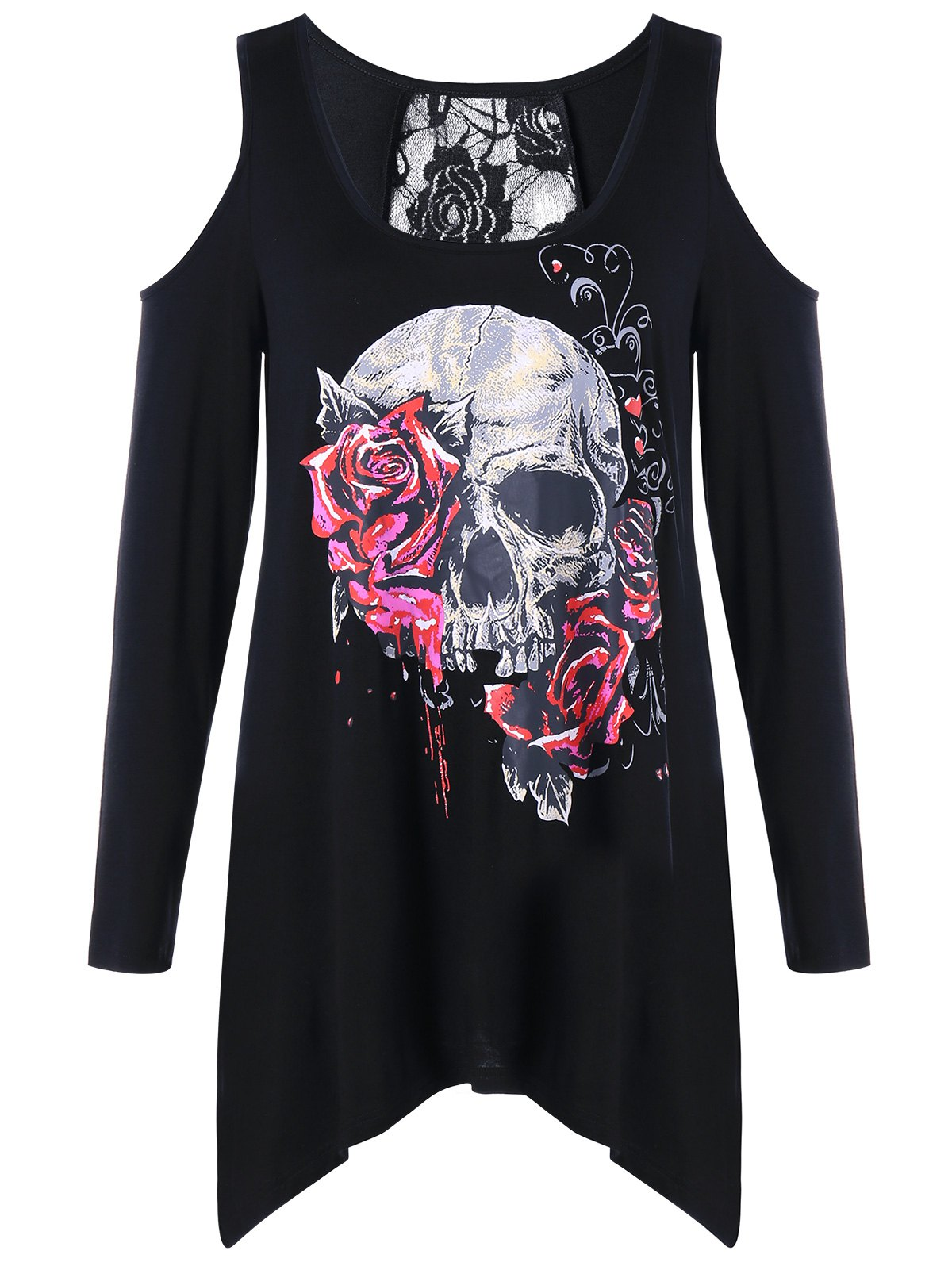 Latest Lace Insert Skull Print Cold Shoulder Top