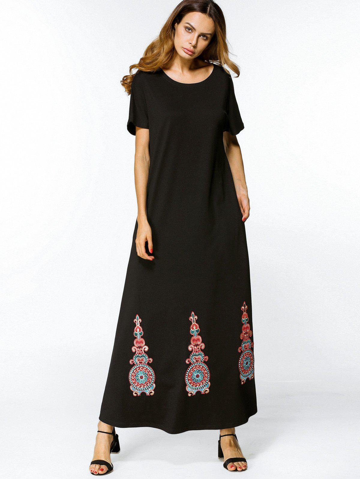 Store Embroidered A Line Maxi Dress