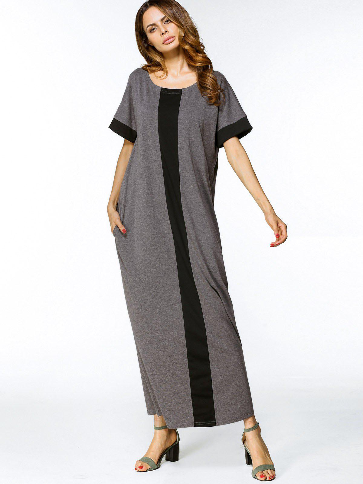 Trendy Two Tone Loose Maxi Dress