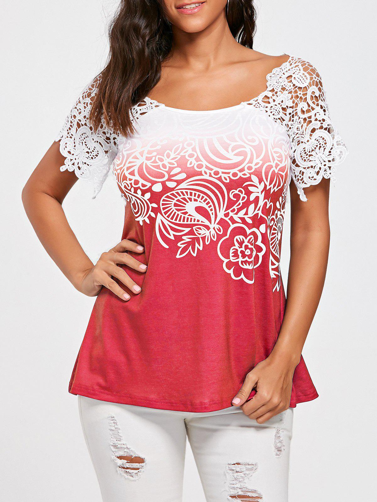 Floral Lace Trim Cutwork T-shirtWOMEN<br><br>Size: L; Color: WATERMELON RED; Material: Polyester,Spandex; Shirt Length: Regular; Sleeve Length: Short; Collar: Scoop Neck; Style: Fashion; Season: Summer; Embellishment: Lace; Pattern Type: Floral; Weight: 0.2300kg; Package Contents: 1 x T-shirt;