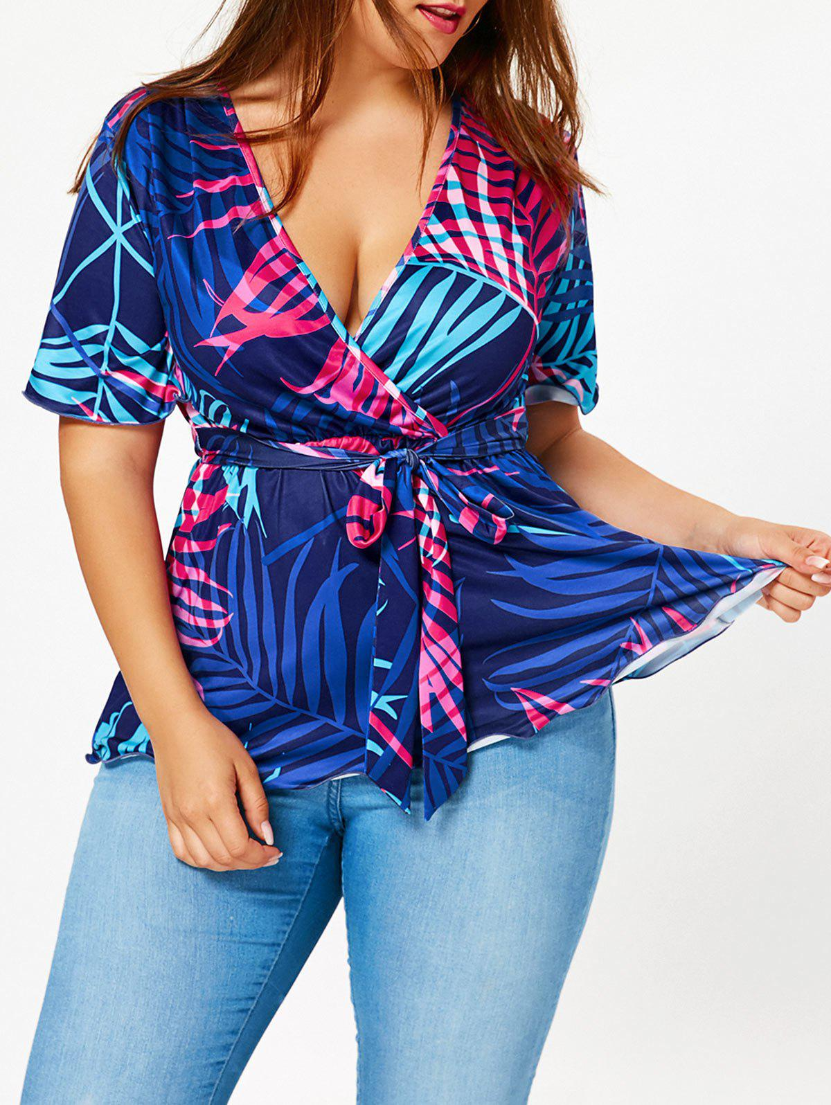 Tropical Print Plus Size Belted Surplice BlouseWOMEN<br><br>Size: 2XL; Color: COLORMIX; Material: Polyester,Spandex; Shirt Length: Regular; Sleeve Length: Half; Collar: V-Neck; Style: Fashion; Season: Summer; Pattern Type: Plant,Print; Placement Print: No; Elasticity: Elastic; Weight: 0.3000kg; Package Contents: 1 x Blouse;