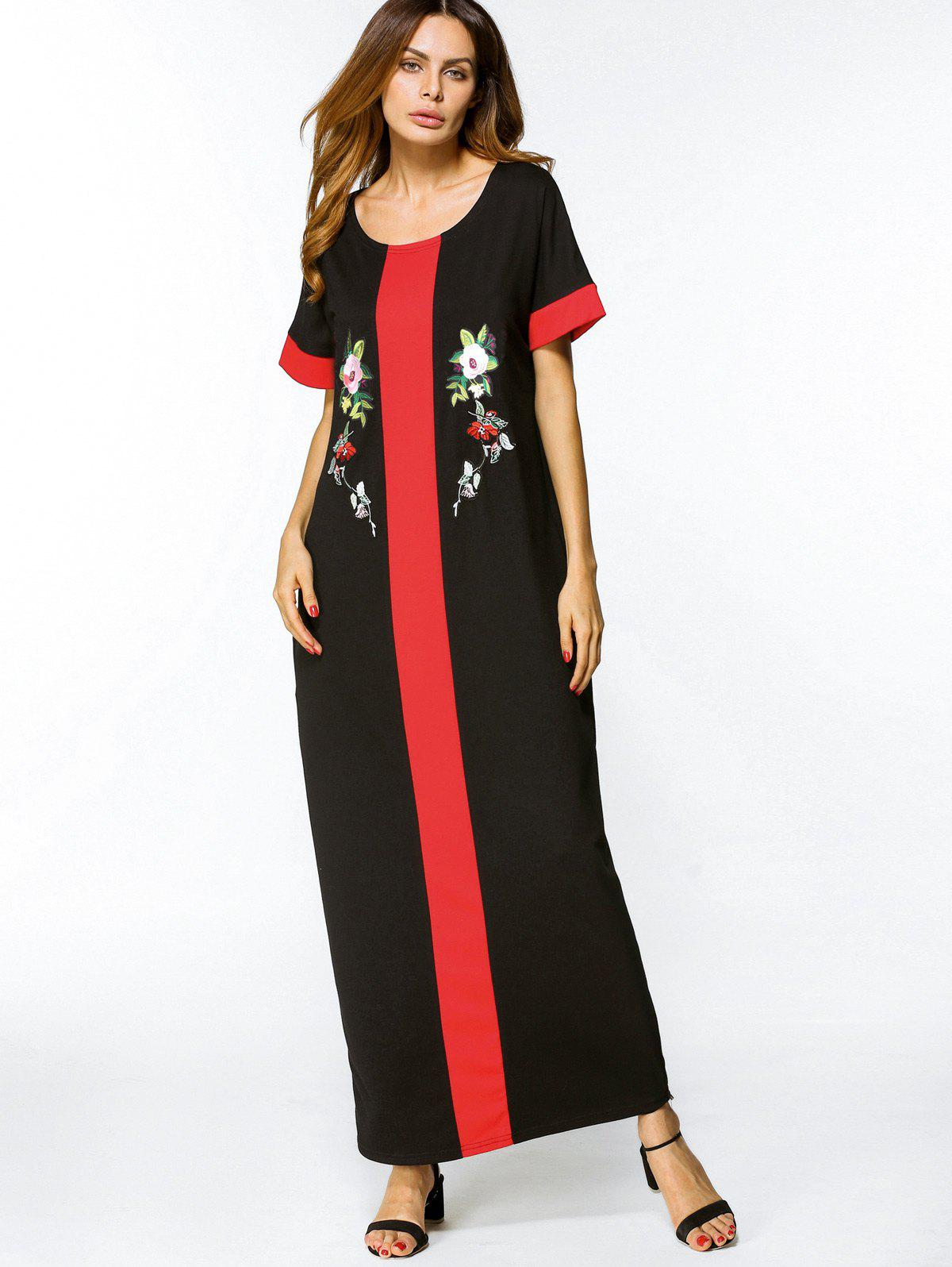 Outfits Floral Embroidered Two Tone Maxi Dress