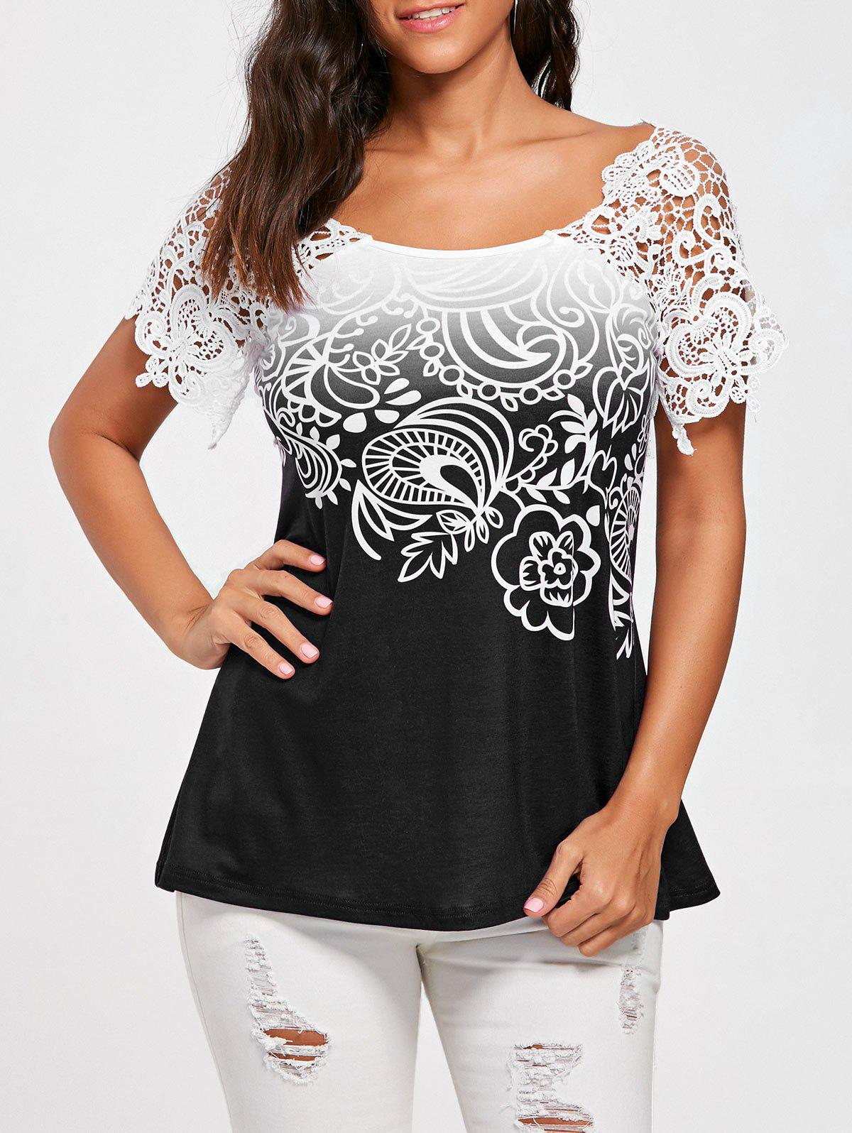 Floral Lace Trim Cutwork T-shirtWOMEN<br><br>Size: 2XL; Color: BLACK; Material: Polyester,Spandex; Shirt Length: Regular; Sleeve Length: Short; Collar: Scoop Neck; Style: Fashion; Season: Summer; Embellishment: Lace; Pattern Type: Floral; Weight: 0.2300kg; Package Contents: 1 x T-shirt;