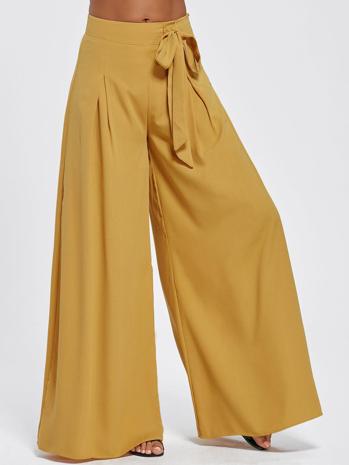Drawstring High Waisted Wide Leg PantsWOMEN<br><br>Size: 2XL; Color: EARTHY; Style: Fashion; Length: Normal; Material: Cotton,Polyester; Fit Type: Regular; Waist Type: High; Closure Type: Drawstring; Pattern Type: Solid; Pant Style: Wide Leg Pants; Weight: 0.5500kg; Package Contents: 1 x Pants;