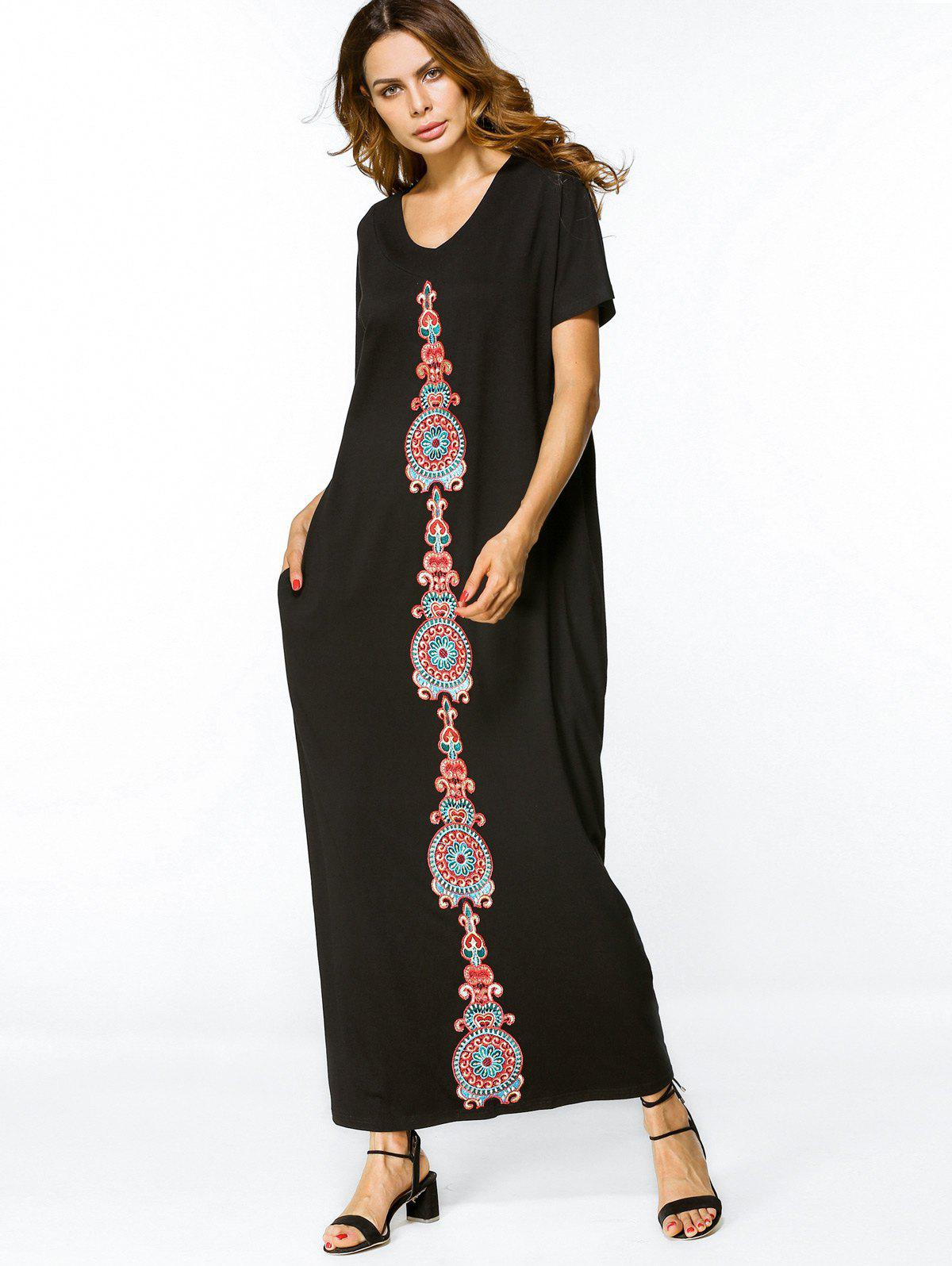 Fashion Embroidered Patches Loose Maxi Dress