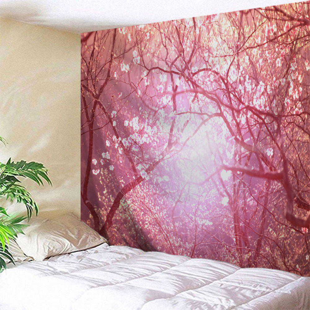 Romantic Blossom Scenic Wall Hanging TapestryHOME<br><br>Size: W71 INCH * L91 INCH; Color: PINK; Style: Romantic; Theme: Landscape; Material: Polyester; Feature: Removable,Washable; Shape/Pattern: Floral,Print; Weight: 0.3800kg; Package Contents: 1 x Tapestry;