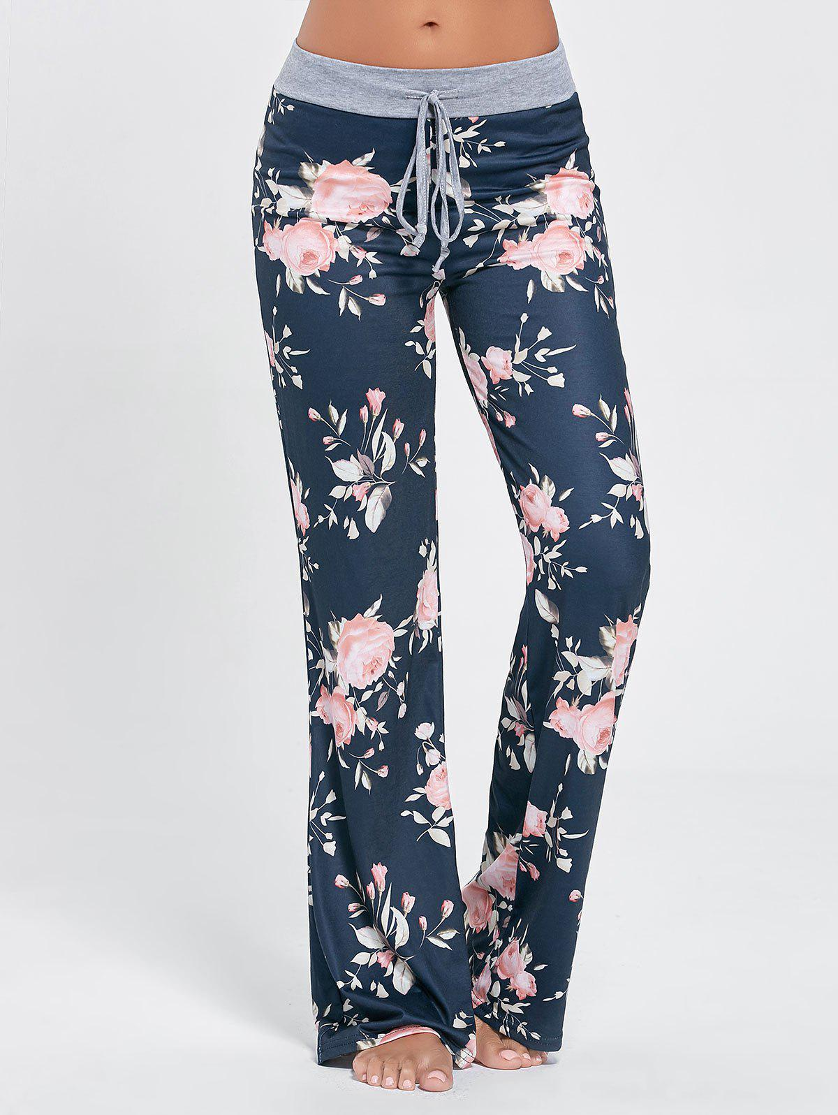 Floral Long Drawstring Waist Sleep PantsWOMEN<br><br>Size: M; Color: COLORMIX; Material: Polyester; Pattern Type: Floral; Weight: 0.3100kg; Package Contents: 1 x Pants;