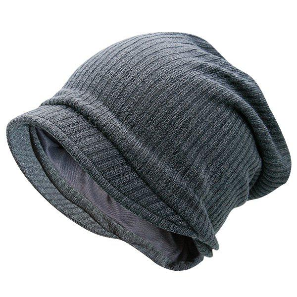 Warm Stripe Knitting BeanieACCESSORIES<br><br>Color: GRAY; Hat Type: Skullies Beanie; Group: Adult; Gender: Unisex; Style: Fashion; Pattern Type: Striped; Material: Polyester; Weight: 0.1000kg; Package Contents: 1 x Hat;
