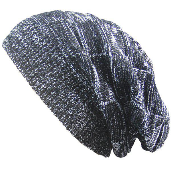 Warm Striped Rib Knitting BeanieACCESSORIES<br><br>Color: BLACK; Hat Type: Skullies Beanie; Group: Adult; Gender: Unisex; Style: Fashion; Pattern Type: Others; Material: Acrylic; Weight: 0.0740kg; Package Contents: 1 x Hat;