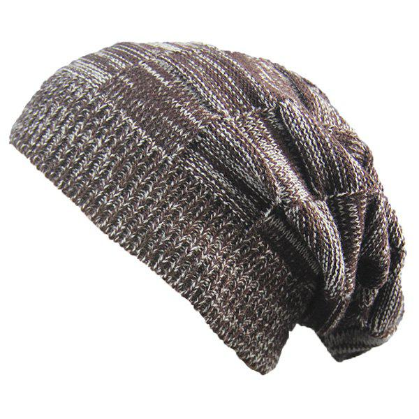 Warm Striped Rib Knitting BeanieACCESSORIES<br><br>Color: COFFEE; Hat Type: Skullies Beanie; Group: Adult; Gender: Unisex; Style: Fashion; Pattern Type: Others; Material: Acrylic; Weight: 0.0740kg; Package Contents: 1 x Hat;