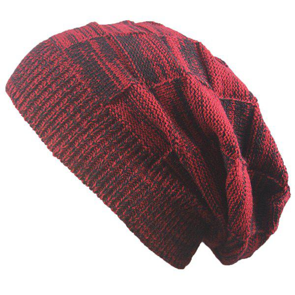 Warm Striped Rib Knitting BeanieACCESSORIES<br><br>Color: CLARET; Hat Type: Skullies Beanie; Group: Adult; Gender: Unisex; Style: Fashion; Pattern Type: Others; Material: Acrylic; Weight: 0.0740kg; Package Contents: 1 x Hat;