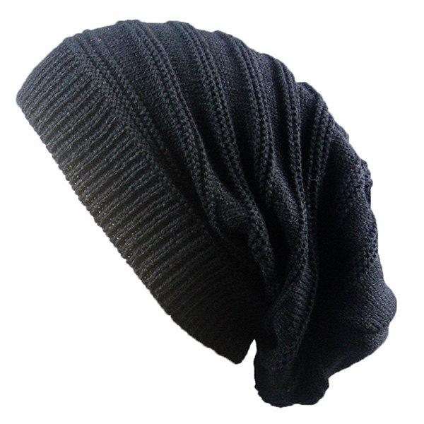 Stacking Striped Ribbing Knitted Beanie HatACCESSORIES<br><br>Color: BLACK; Hat Type: Skullies Beanie; Group: Adult; Gender: Unisex; Style: Fashion; Pattern Type: Striped; Material: Acrylic; Weight: 0.0740kg; Package Contents: 1 x Hat;