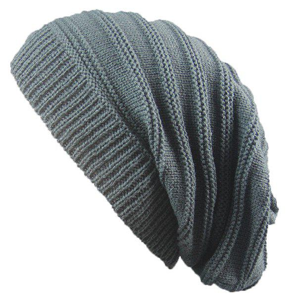 Stacking Striped Ribbing Knitted Beanie HatACCESSORIES<br><br>Color: DEEP GRAY; Hat Type: Skullies Beanie; Group: Adult; Gender: Unisex; Style: Fashion; Pattern Type: Striped; Material: Acrylic; Weight: 0.0740kg; Package Contents: 1 x Hat;