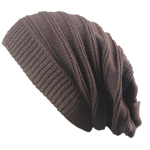 Stacking Striped Ribbing Knitted Beanie HatACCESSORIES<br><br>Color: COFFEE; Hat Type: Skullies Beanie; Group: Adult; Gender: Unisex; Style: Fashion; Pattern Type: Striped; Material: Acrylic; Weight: 0.0740kg; Package Contents: 1 x Hat;