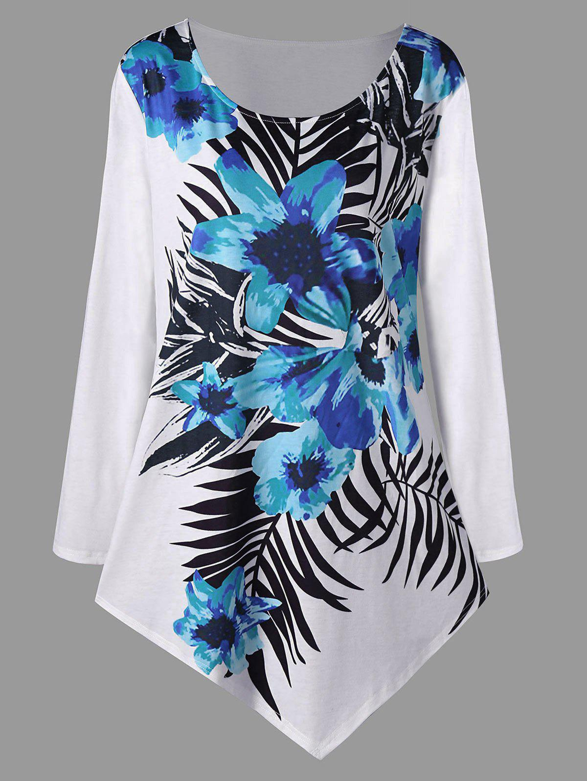 Chic Plus Size Long Sleeve Floral Asymmetric Top