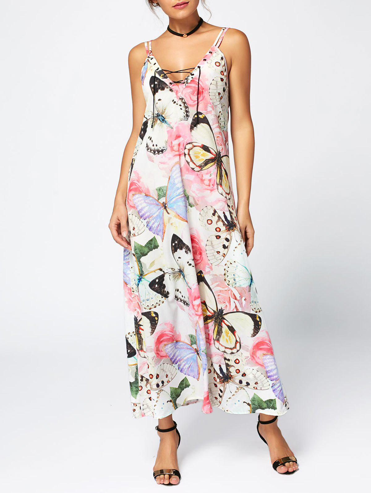 Rose Butterfly Print Slip Maxi DressWOMEN<br><br>Size: M; Color: FLORAL; Style: Casual; Material: Polyester; Silhouette: Shift; Dress Type: Slip Dress; Dresses Length: Ankle-Length; Neckline: Spaghetti Strap; Sleeve Length: Sleeveless; Waist: Natural; Embellishment: Criss-Cross; Pattern Type: Butterfly,Floral,Print; Placement Print: No; With Belt: No; Season: Summer; Weight: 0.2200kg; Package Contents: 1 x Dress;