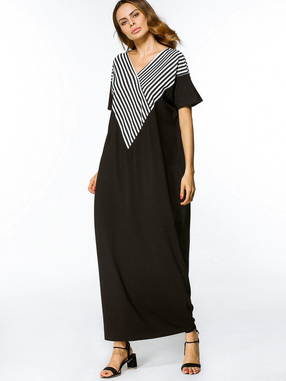Latest Asymmetrical Stripes Casual Maxi Dress