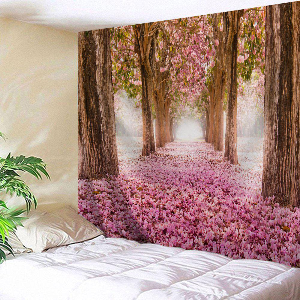 Sakura Scenery Throw Fabric Tapestry Wall HangingHOME<br><br>Size: W71 INCH * L79 INCH; Color: PINK; Style: Romantic; Theme: Landscape; Material: Polyester; Feature: Removable,Washable; Shape/Pattern: Floral,Print; Weight: 0.3100kg; Package Contents: 1 x Tapestry;