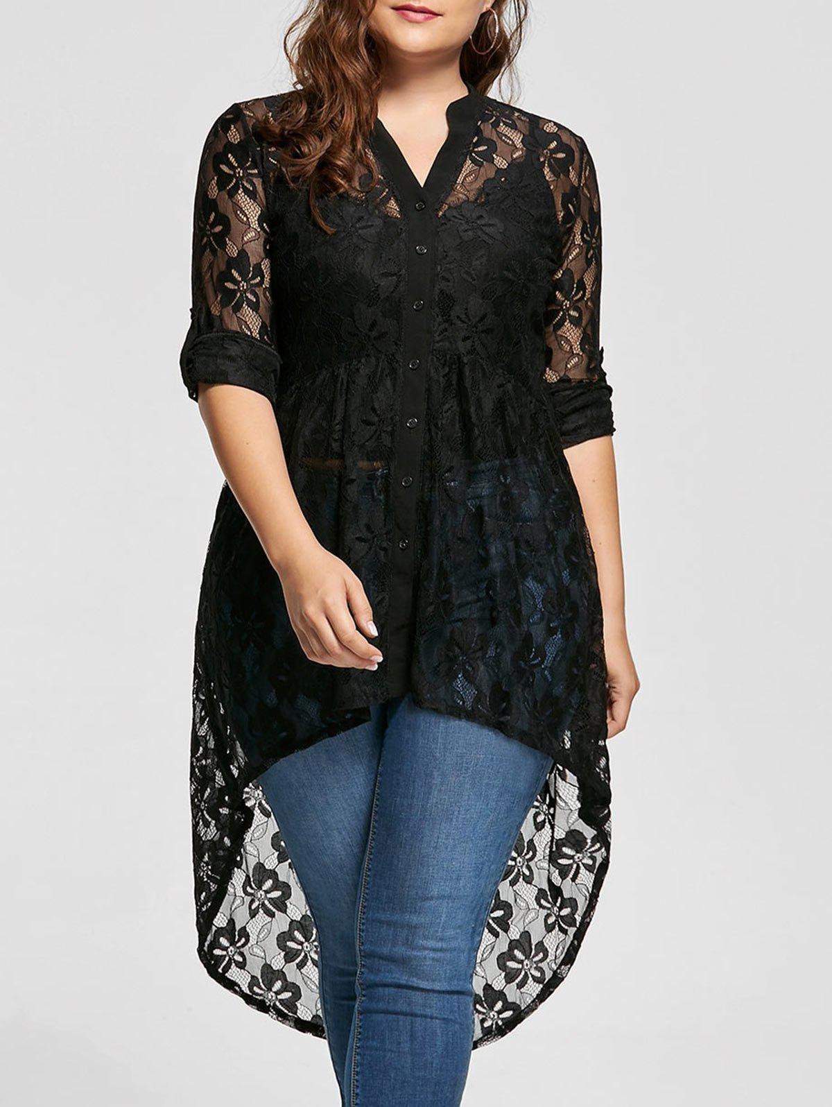 High Low Lace Long Sleeve Plus Size TopWOMEN<br><br>Size: 2XL; Color: BLACK; Material: Polyester; Shirt Length: Long; Sleeve Length: Full; Collar: V-Neck; Style: Fashion; Season: Fall,Spring; Pattern Type: Solid; Weight: 0.2600kg; Package Contents: 1 x Top;