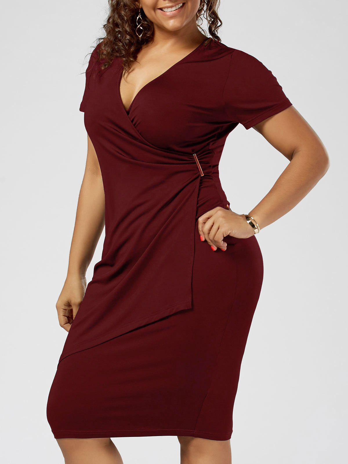 Plus Size Overlap Plain Tight Surplice V Neck Sheath DressWOMEN<br><br>Size: 2XL; Color: WINE RED; Style: Brief; Material: Polyester,Spandex; Silhouette: Sheath; Dresses Length: Knee-Length; Neckline: V-Neck; Sleeve Length: Short Sleeves; Pattern Type: Solid Color; With Belt: No; Season: Summer; Weight: 0.3200kg; Package Contents: 1 x Dress;
