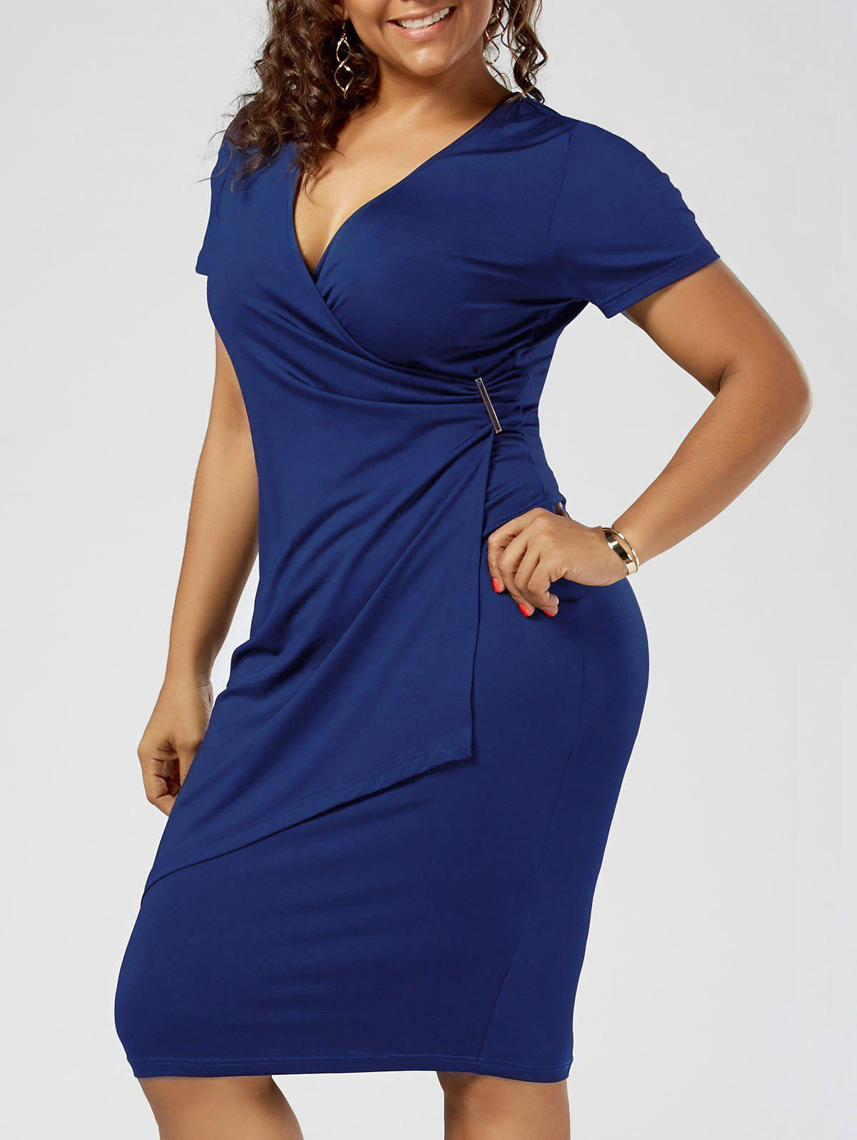 Plus Size Overlap Plain Tight Surplice V Neck Sheath DressWOMEN<br><br>Size: 2XL; Color: BLUE; Style: Brief; Material: Polyester,Spandex; Silhouette: Sheath; Dresses Length: Knee-Length; Neckline: V-Neck; Sleeve Length: Short Sleeves; Pattern Type: Solid Color; With Belt: No; Season: Summer; Weight: 0.3200kg; Package Contents: 1 x Dress;