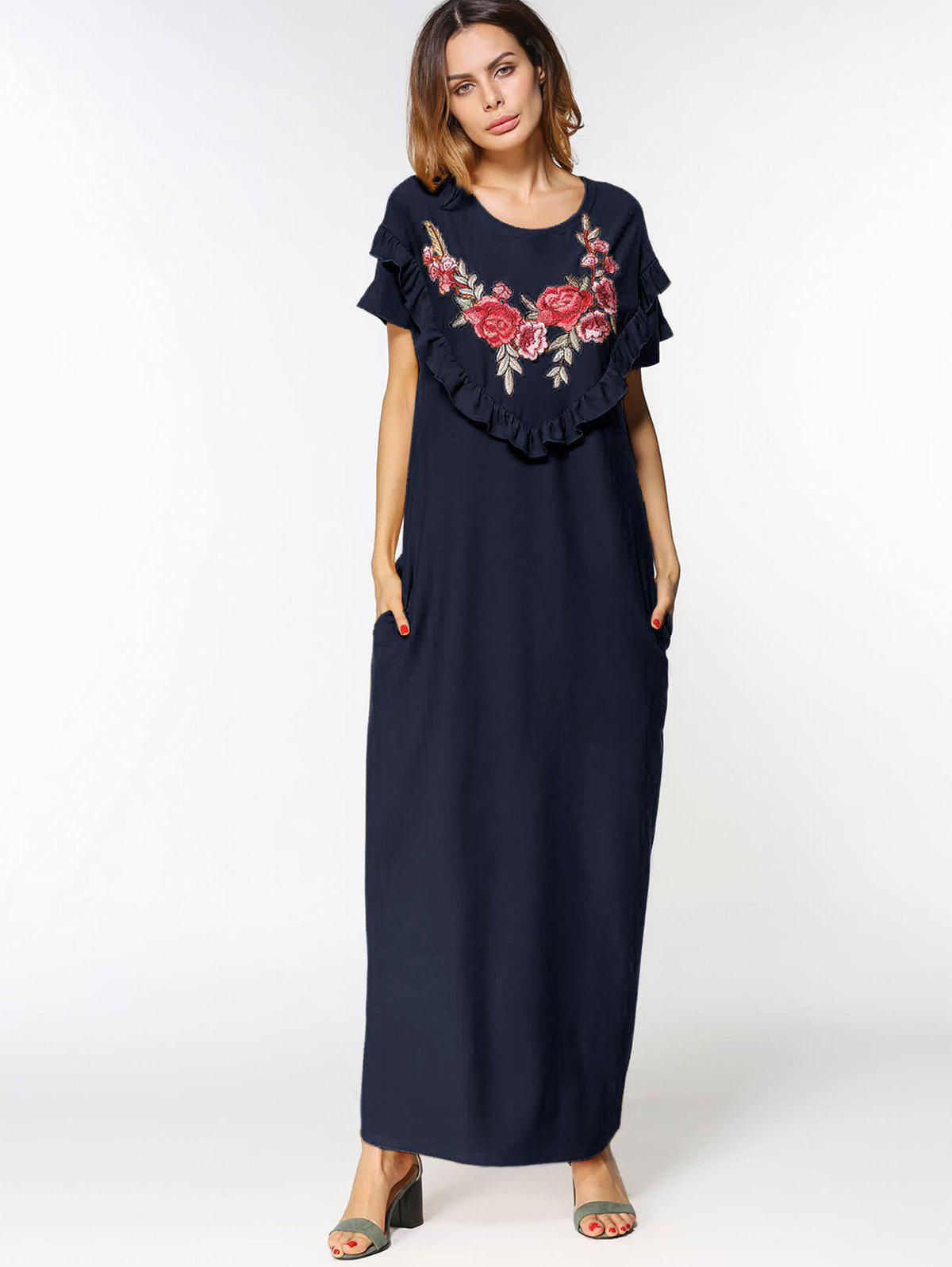 Cheap Floral Embroidered Patches Ruffles Maxi Dress