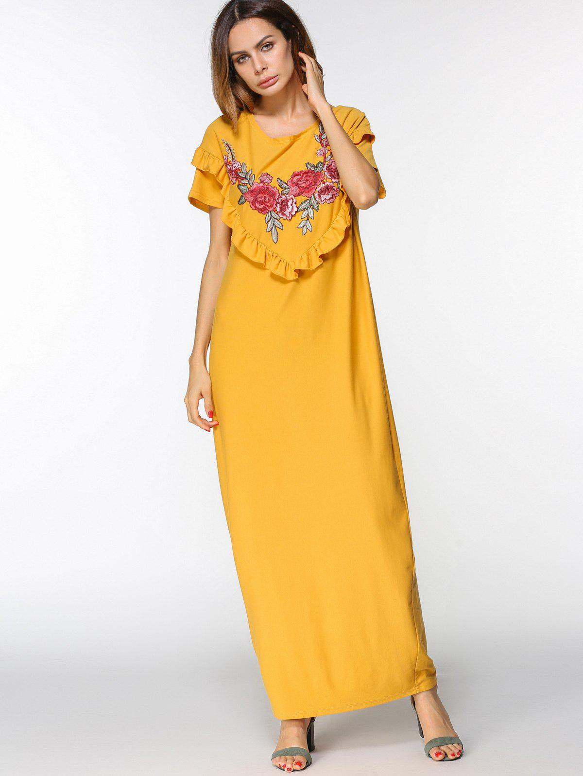 Store Floral Embroidered Patches Ruffles Maxi Dress