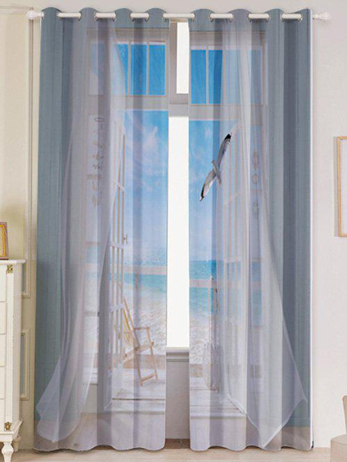 Online 2Pcs Blackout Faux Window Seagull Pattern Window Curtains
