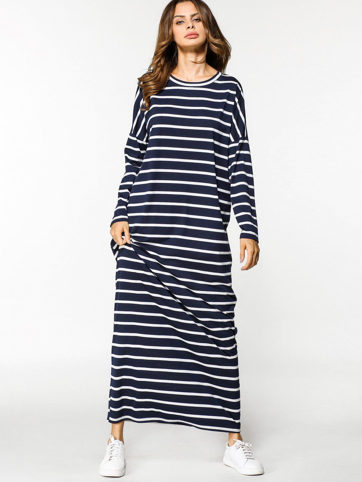 Discount Stripes Long Sleeve Casual Maxi Dress
