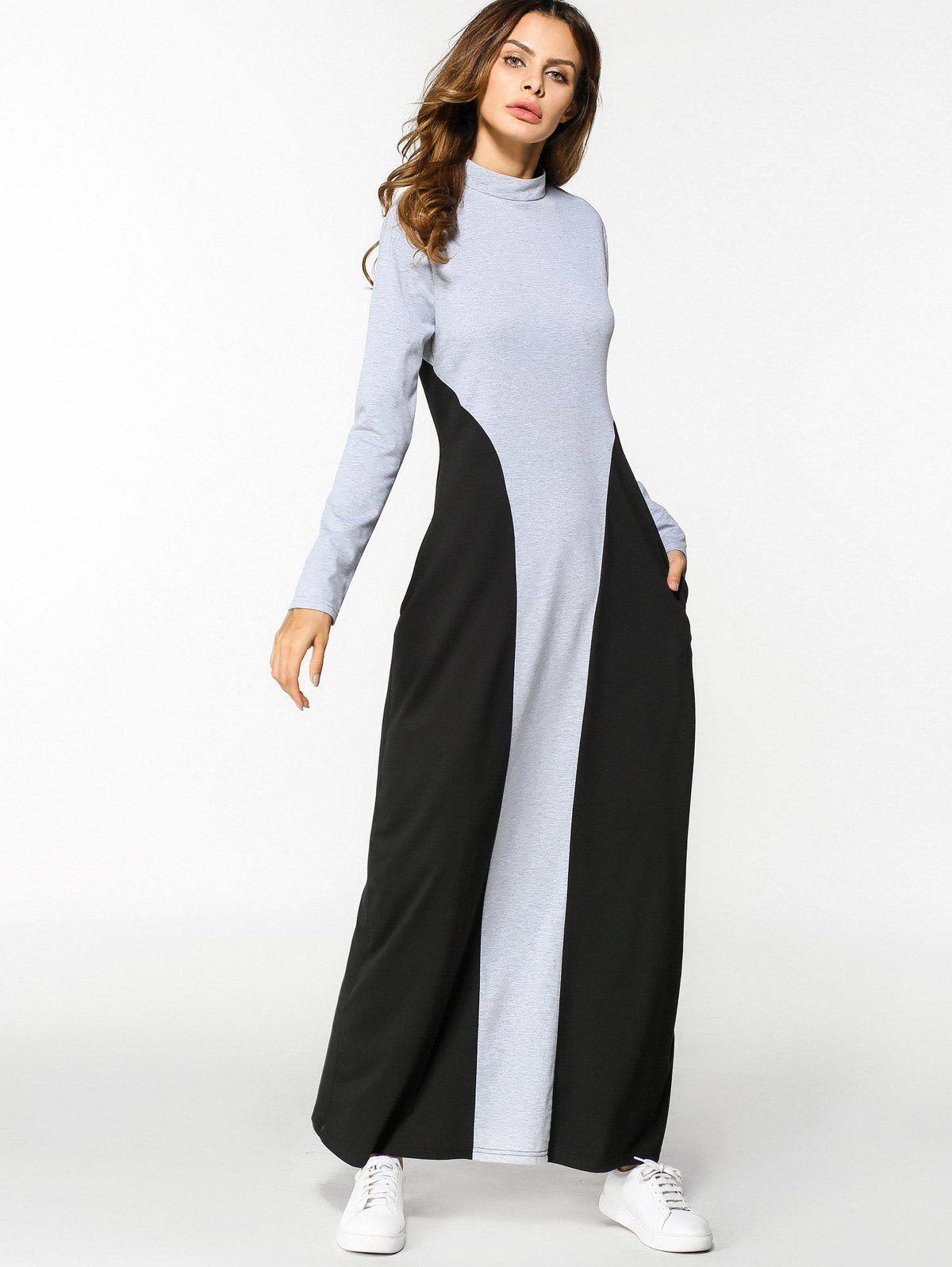 Shop Two Tone Long Sleeve A Line Maxi Dress