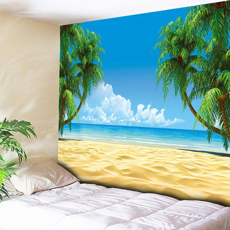 Beach Coconut Palm Wall Hanging TapestryHOME<br><br>Size: W59 INCH * L51 INCH; Color: SKY BLUE; Style: Beach Style; Theme: Beach Theme,Landscape; Material: Cotton,Polyester; Feature: Removable,Washable; Shape/Pattern: Plant,Print; Weight: 0.1800kg; Package Contents: 1 x Tapestry;