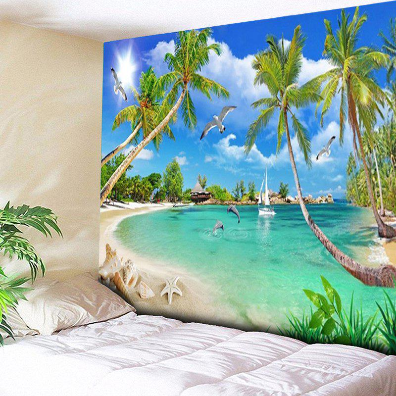 Coconut Palm Island Scenery Wall TapestryHOME<br><br>Size: W59 INCH * L59 INCH; Color: SKY BLUE; Style: Beach Style; Theme: Beach Theme,Landscape; Material: Cotton,Polyester; Feature: Removable,Washable; Shape/Pattern: Animal,Plant,Print; Weight: 0.2000kg; Package Contents: 1 x Tapestry;