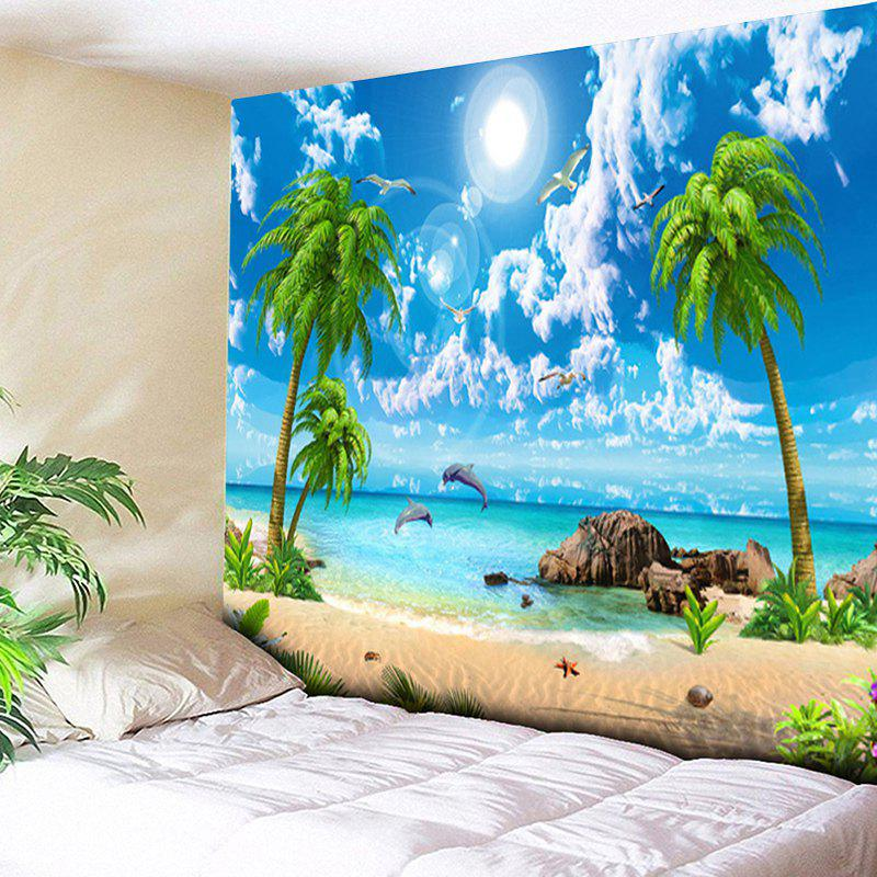 Island Scenery Coconut Tree Wall TapestryHOME<br><br>Size: W59 INCH * L51 INCH; Color: SKY BLUE; Style: Beach Style; Theme: Beach Theme,Landscape; Material: Cotton,Polyester; Feature: Removable,Washable; Shape/Pattern: Animal,Plant,Print; Weight: 0.1800kg; Package Contents: 1 x Tapestry;
