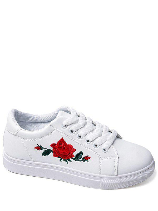 Embroidery Faux Leather Athletic ShoesSHOES &amp; BAGS<br><br>Size: 38; Color: WHITE; Gender: For Women; Closure Type: Lace-Up; Shoe Width: Medium(B/M); Pattern Type: Floral; Upper Material: PU; Season: Spring/Fall; Weight: 1.0800kg; Package Contents: 1 x Athletic Shoes (pair);