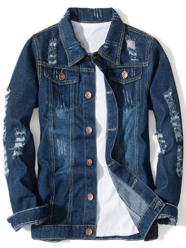 Chic Distressed Button Up Pocket Denim Jacket