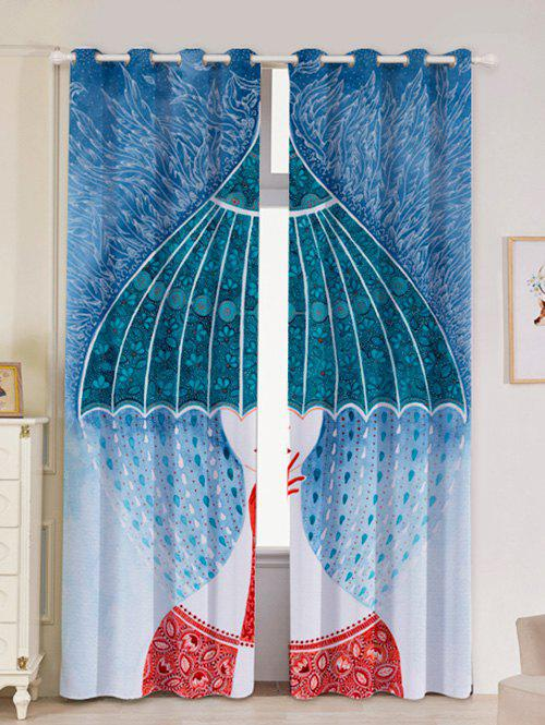 Outfit 2Pcs Abstract Printed Lightproof Window Curtains