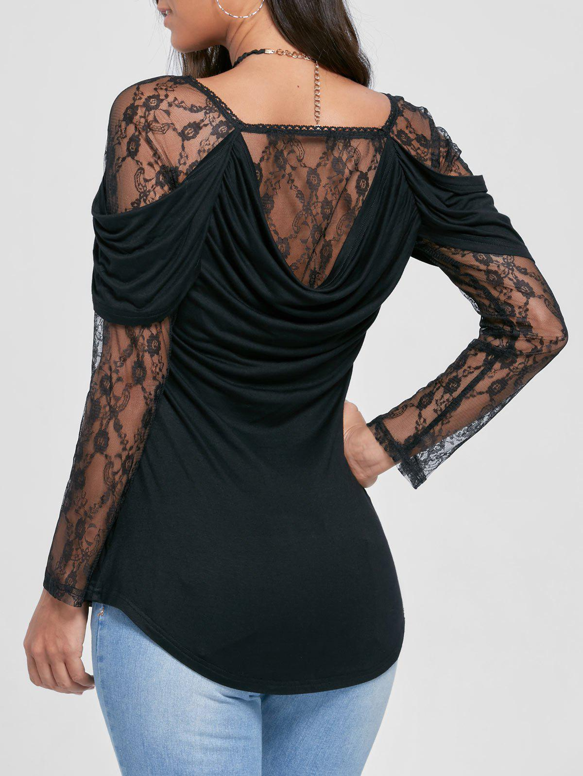 Sheer Lace Yoke Cowl Back TopWOMEN<br><br>Size: XL; Color: BLACK; Material: Rayon,Spandex; Shirt Length: Regular; Sleeve Length: Full; Collar: Square Neck; Style: Fashion; Embellishment: Lace; Pattern Type: Others; Season: Fall,Spring,Summer; Weight: 0.3400kg; Package Contents: 1 x Top;